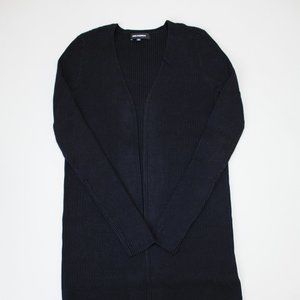 Ribbed Knit Open Front Duster Cardigan